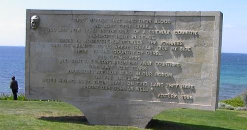 Monument inscribed with Attaturks message to the families of those who fought at Gallipoli.  Headland between North Beach and Anzac Cove.