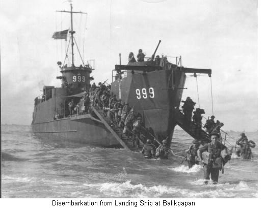 Disembarkation from Landing Ship at Balikpappan