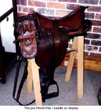The pre World War I saddle on display