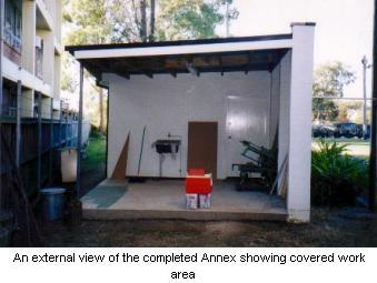 An external view of the completed Annex showing covered work area.