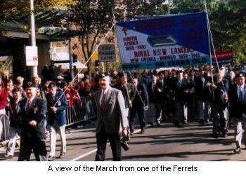 A view of the march from one of the ferrets