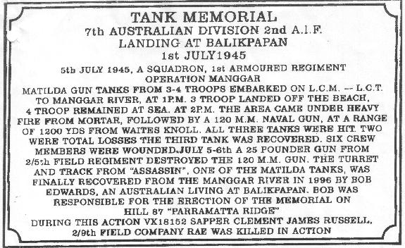 Plaque Tank memorial consisting of the gun mantlet and some tracks from Assassin