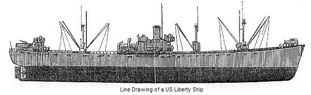 Line drawing of a Liberty Ship