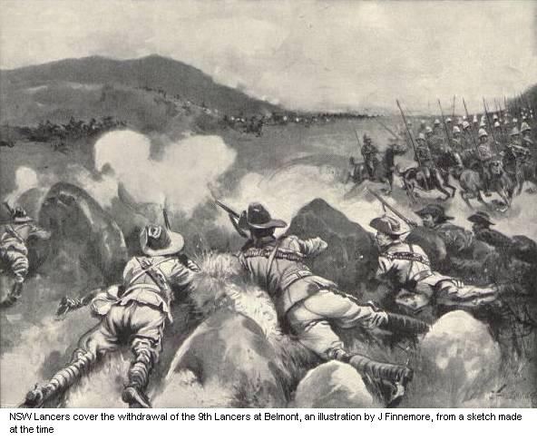 NSW Lancers cover the withdrawal of the 9th Lancers at Belmont, an illustration by J Finnemore, from a sketch made at the time.