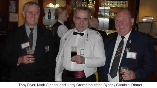 Tony Fryer, Mark Gibson and Harry Crampton at the Sydney Cambrai Dinner