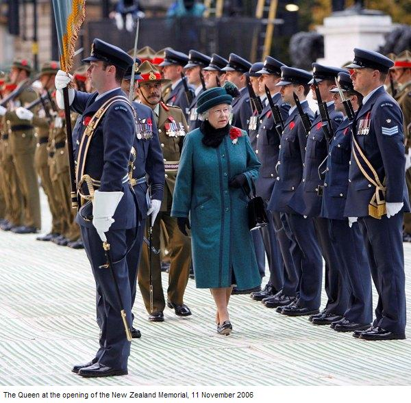 The Queen at the opening of the NZ Memorial in London