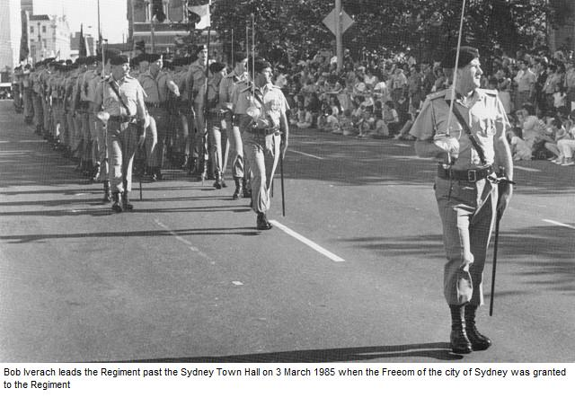 Bob Iverach leads the Freedom of Entry to Sydney parade 1985