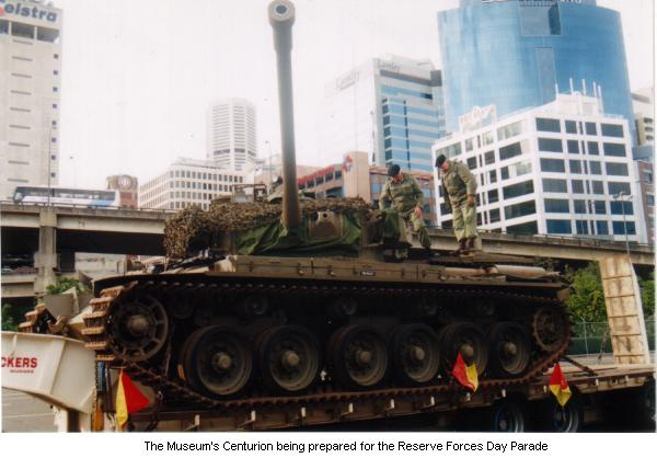 The Museum's Centurion being prepared for the Reserve Forces Dar Parade