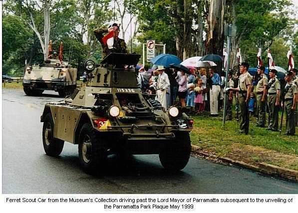 Ferret Scout Car from the Museum's Collection driving past the Lord Mayor of Parramatta subsequent to the unveiling of the Parramatta Park Plaque May 1999.