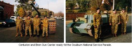 Centurion and Bren Gun Carrier ready fot the Goulburn National Service Parade