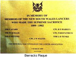 Barracks Plaque
