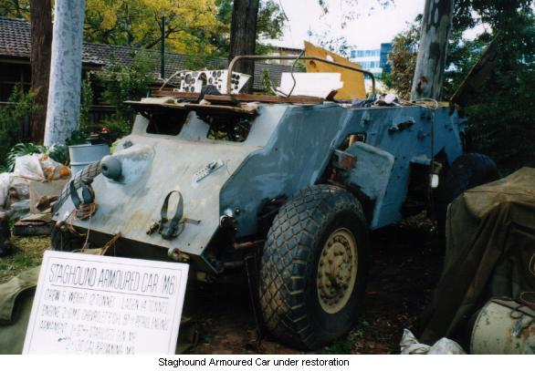 Staghound Armoured Car under restoration.